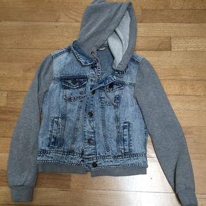 Jeans Denim Jacket Hoodie Crop XS 0